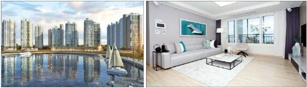 전남 여수시 웅천지구 '여수 웅천 꿈에그린' 전용면적 84㎡A 주택 조감도와 내부 모습. 한화건설 제공