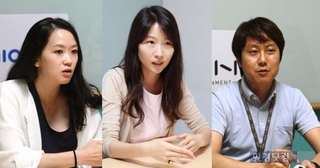 (왼쪽부터) NHN엔터테인먼트 유니원사업팀의 박범진 팀장, 박주현 전임, 신승엽 전임.