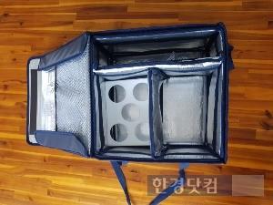 메쉬코리아가 특허출원한 '배달가방 3.0' 내부 모습. / 사진=메쉬코리아 제공