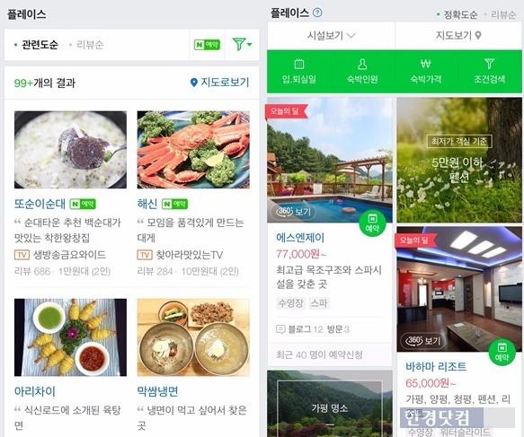 네이버 모바일 웹에서 '신사동 맛집'(왼쪽)과 '가평펜션'을 검색했을 때 '플레이스'를 통해 보여지는 결과. 사업자가 네이버 예약 서비스를 적용한 곳엔 '예약' 버튼이 보인다.