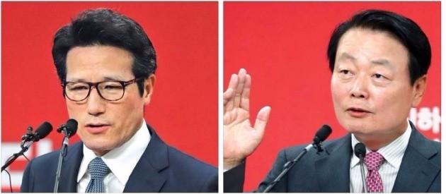 정병국 의원(왼쪽)과 한선교 의원(오른쪽)이 10일 서울 여의도 새누리당 당사에서 당 대표 경선 출마를 선언하고 있다. 연합뉴스