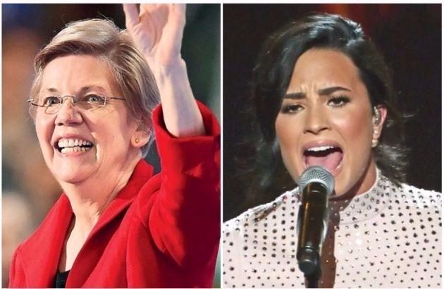 """< """"여성 대통령 후보 지지해주세요"""" > 미국 민주당 전당대회가 개막한 25일(현지시간) 민주당의 대통령 후보 공식 지명을 앞둔 힐러리 클린턴 전 국무장관을 지지하기 위해 유명 여성들이 대거 참여, 분위기를 띄웠다. 왼쪽부터 엘리자베스 워런 상원의원, 가수 데미 로바토. 필라델피아AFP연합뉴스"""