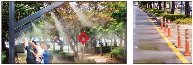 대구시가 2·28기념중앙공원에 설치한 '물안개 분사' 쿨링포그 시스템(왼쪽)과 도로 노면을 식히는 달구벌 대로의 클린로드 시스템. 대구시 제공