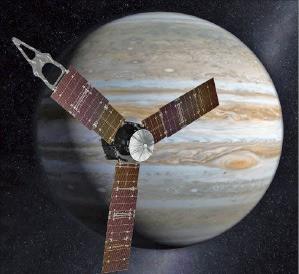 NASA가 무인 우주탐사선 '주노'가 목성 궤도에 진입한 모습을 그려 배포한 상상도. EPA연합뉴스