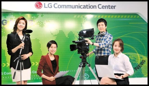 LG그룹 사내방송 스튜디오에 4명의 PD가 모였다. 왼쪽부터 정서현·김경아·김세종·임슬기 PD. LG제공