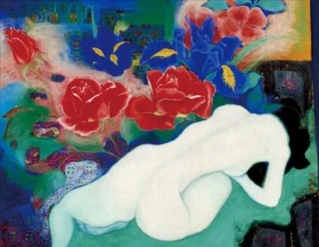 K옥션이 오는 19일까지 여는 '프리미엄&큰그림 온라인 경매'에 출품한 이숙자 화백의 '꽃과 여인'.