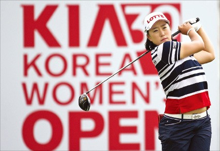 김해림이 지난달 열린 '기아자동차 제30회 한국여자오픈'에서 드라이버샷을 하고 있다. KLPGA 제공