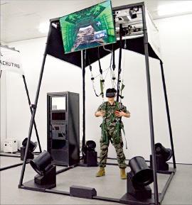 옵티머스시스템이 개발한 가상낙하 로봇 시뮬레이터에서 실험자가 HMD(헤드마운티드디스플레이)를 착용하고 가상낙하 훈련을 하고 있다. 대구시 제공