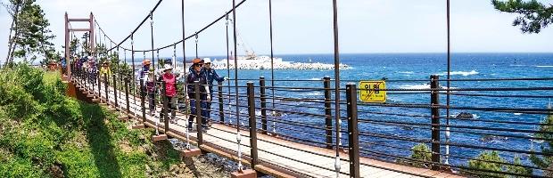해파랑길 10코스에 있는 현수교를  관광객들이 걷고 있다. 한국의 길과 문화 제공