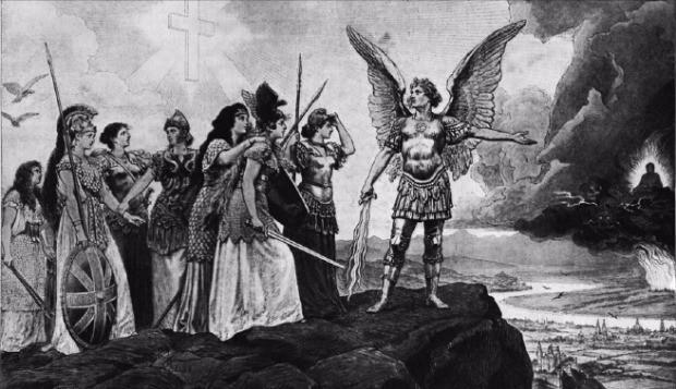 미국 잡지 '하퍼스 위클리'(1898년)에 실린 독일 빌헬름 2세 원작의 '황화(yellow peril)'. 대천사 미카엘이 유럽 각국을 대표하는 여전사들에게 부처와 용으로 형상화된 동양의 위협에 맞서 싸울 것을 요구하고 있다. 현암사 제공