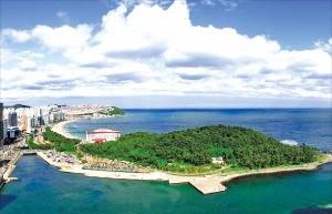 육지와 이어진 동백섬