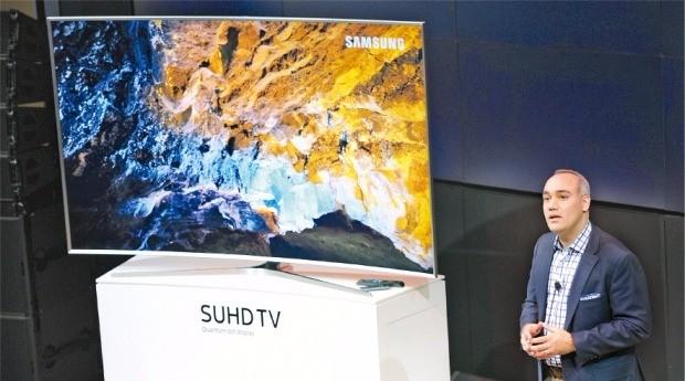 지난 4월 미국 뉴욕에서 열린 삼성전자 SUHD TV 출시행사 모습.
