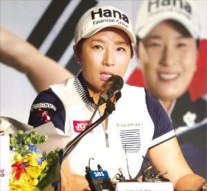 올림픽 여자골프 한국 대표팀 코치인 박세리가 27일 올림픽 메달 전망과 은퇴 후 계획을 설명하고 있다. KEB하나은행 제공