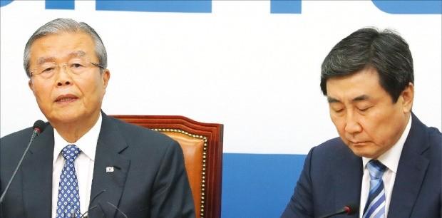 김종인 더불어민주당 비상대책위원회 대표(왼쪽)가 27일 국회에서 열린 비대위 회의에서 발언하고 있다. 연합뉴스