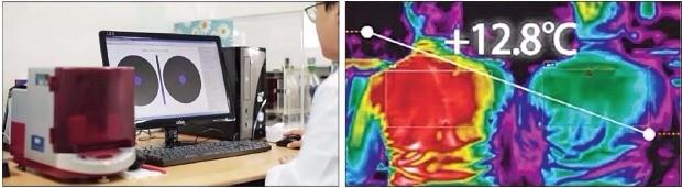 토종 섬유업체 벤텍스의 서울 잠실동 연구소에서 연구원이 냉감섬유 기능성 테스트를 하고 있다. 오른쪽 사진은 냉감효과를 보여주는 화면. 냉감섬유를 입지 않은 왼쪽 사람은 이를 착용한 오른쪽 사람보다 온도가 높게 감지된다. 벤텍스  제공