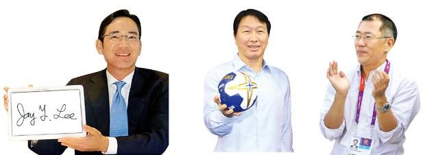 왼쪽부터 이재용 삼성전자 부회장, 최태원 SK그룹 회장, 정의선 현대자동차 부회장