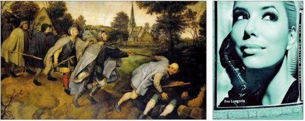 왼쪽에서 오른쪽으로 글을 읽는 습관이 적용된 네덜란드 화가 피테르 브뤼헐의 작품 '장님의 비유'(왼쪽)와 배우 에바 롱고리아를 모델로 제작한 화장품 회사 로레알의 광고 전광판(오른쪽). 홍디자인 제공