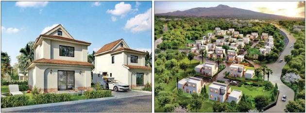 제주도에서 20~30채의 단독주택으로 구성된 타운하우스 단지 개발이 이어지고 있다. 애월읍 곽지리의 '레이지마마'(왼쪽)와 광령리에 자리 잡은 '휴에이지'(오른쪽) 조감도. 각사 제공