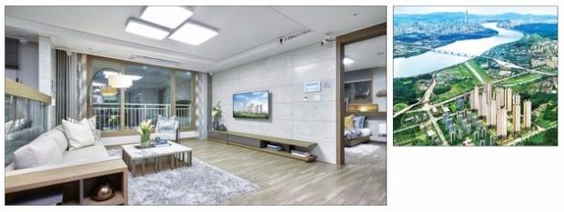 반도건설이 경기 남양주 다산신도시 지금지구에 짓는 '다산신도시 지금 반도유보라 메이플타운 2.0' 전용면적 84㎡B형 아파트의 거실(왼쪽)과 단지 조감도. 반도건설 제공
