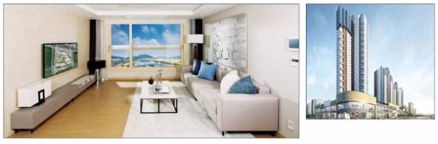 판상형 구조로 공간별 면적을 극대화한 '세종 지웰 푸르지오' 전용 74B㎡ 거실(왼쪽)과 조감도. 신영 제공