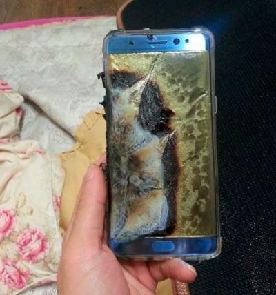 인터넷 커뮤니티 뽐뿌에 올라온 폭발한 갤럭시노트7.