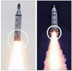 북한 노동신문은 25일 잠수함발사탄도미사일(SLBM) 시험발사 관련 사진 24장을 게재했다. 지난 4월23일 발사 당시의 SLBM(왼쪽)과 24일 발사한 SLBM 모습을 비교한 것으로, 하단부 톱니 모양의 장치가 추가된 것이 보인다. 연합뉴스