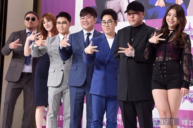 '슈퍼스타K 2016' 길(왼쪽부터), 거미, 이범수, 한성호, 김연우, 용감한형제, 에일리  /사진=변성현 기자