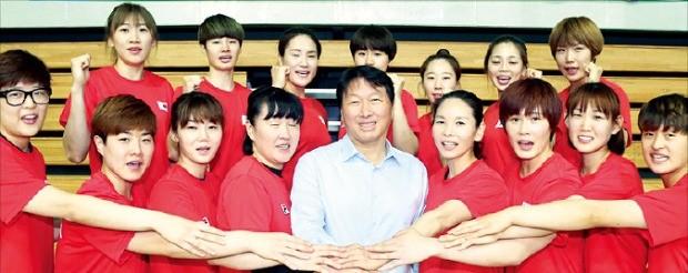 최태원 SK그룹 회장(앞줄 가운데)이 핸드볼 여자 국가대표 선수단과 리우데자네이루올림픽 선전을 다짐했다. SK  제공