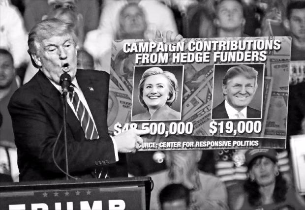 도널드 트럼프 미국 공화당 대통령 후보가 10일(현지시간) 플로리다주(州) 선라이즈 BB&T센터에서 열린 선거유세에서 힐러리 클린턴 민주당 후보를 비난하는 패널을 들어 보이고 있다. 그는 헤지펀드업계에서 받은 클린턴 후보의 후원금이 4850만달러(약 530억원)로 자신이 받은 금액 1만9000달러(약 2000만원)보다 훨씬 많다며 월가와 클린턴 후보의 유착을 주장했다. 선라이즈EPA연합뉴스