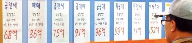 위례신도시 입주 영향으로 인근 서울 잠실지역 아파트 전셋값은 내리는 반면 매매가격은 오히려 오르고 있다. 잠실 엘스 단지 인근 중개업소에 전세 급매물 등을 알리는 가격표가 붙어있다. 한경DB