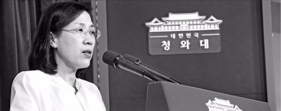 김현숙 고용복지수석이 25일 청와대에서 저출산 보완 대책을 발표하고 있다. 연합뉴스