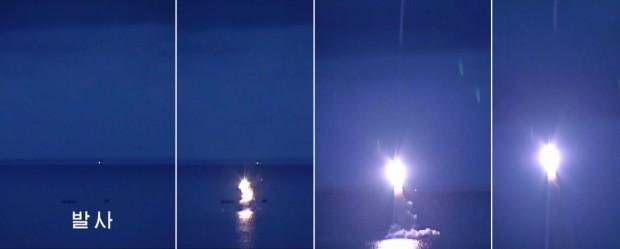 (서울=연합뉴스) 북한 조선중앙TV는 25일 낮 12시(평양시간) 보도에서 전날 실시한 잠수함발사탄도미사일(SLBM) 시험발사 장면을 공개했다. 사진은 발사 장면 캡쳐.