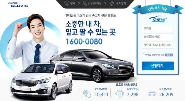 현대글로비스는 온라인에서 중고차 팔기를 희망하는 고객이 차량을 등록할 수 있도록 '내차 팔기' 서비스를 제공하고 있다. 사진=현대글로비스 오토벨 홈페이지 화면 캡처.