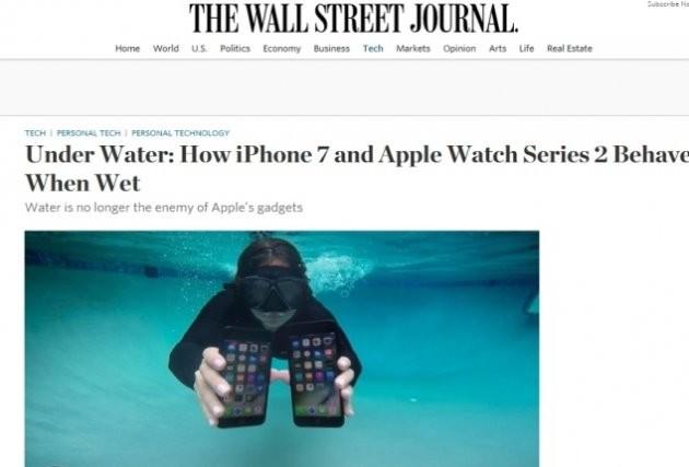 """20일 WSJ의 테크칼럼니스트 조안나 스턴(Joanna Stern)은 14일 리뷰를 통해 """"아이폰 7의 방수기능은 실용적이지 않다""""며 """"물에 담근 아이폰7의 터치기능은 불완전하게 작동한다""""고 지적했다."""