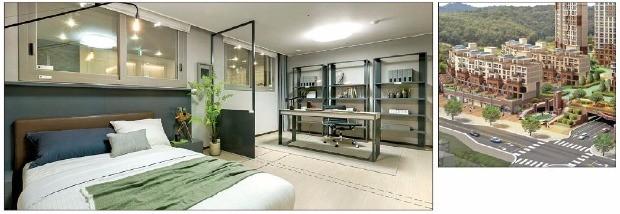동양건설산업이 세종시 1-1생활권에서 선보이는 '세종 파라곤' 아파트 전용면적 105A㎡ 침실(왼쪽)과 단지 조감도. 동양건설산업 제공