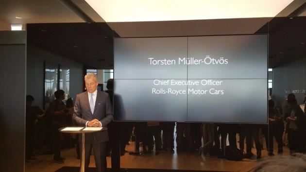 롤스로이스 영국 본사에서 방한한 토스텐 뮐러 위트비스 최고경영자(CEO)가 간담회를 진행하고 있다.