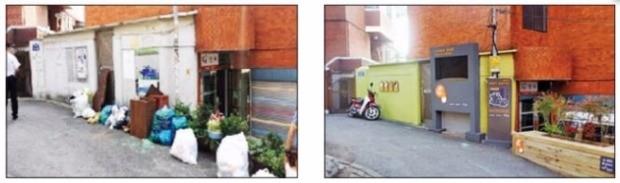 서울 동작구 신대방1동의 한 골목길(왼쪽)이 셉테드 도입 이후(오른쪽) 깔끔하게 변했다. 동작구청 제공