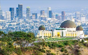 로스앤젤레스의 그리피스 천문대와 시내 전경