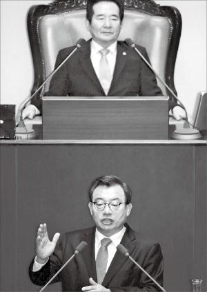 이정현 새누리당 대표(아래)가 5일 정세균 국회의장이 지켜보는 가운데 국회에서 교섭단체 대표 연설을 하고 있다. 신경훈 기자 khshin@hankyung.com