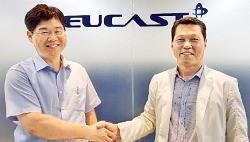 김상일 액트 대표(오른쪽)와 김재형 유캐스트 대표가 차세대 통신장비 시장 진출에 대한 전략적 업무제휴를 맺었다. 액트 제공