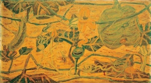 서울옥션이 오는 27일 여는 가을 경매에 출품하는 이중섭 화백의 1954~1955년작 '호박꽃'(62×98cm).