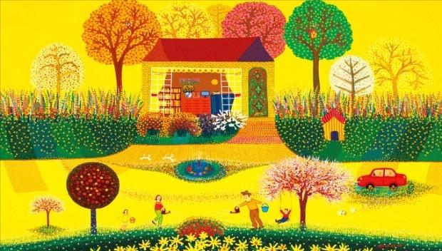 색채화가 김덕기 씨가 서울 인사동 노화랑에서 열리는 개인전에 출품한 '가족-함께하는 시간'.