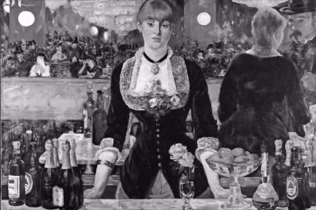 마네의 '폴리 베르제르 술집'. 전경에 있는 영국맥주 '바스'가 작품의 사실성을 높였다. 예경제공