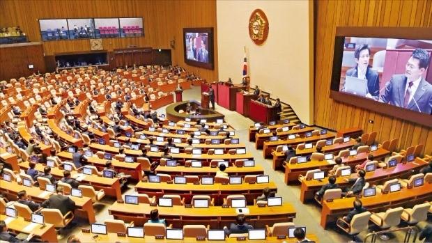 < 텅빈본회의장 > 경제분야 대정부 질문이 열린 22일 국회 본회의장의 여야 의석이 텅 비어 있다. 김범준 기자 bjk07@hankyung.com