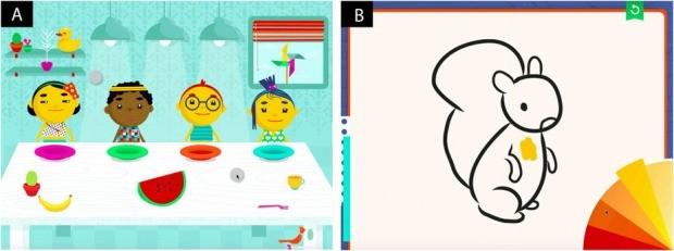 시험에 참가한 아이들은 과일을 나누어 게임 속 친구들에게 조각을 나눠주고, 터치로 동물을 색칠하는 태블릿PC 게임을 진행했다. 게임을 진행하는 동안 움직인 손가락 패턴을 기준으로 자폐아동과 정상아동을 93%의 정확도로 구분할 수 있었다. /사이언티픽 리포트 제공