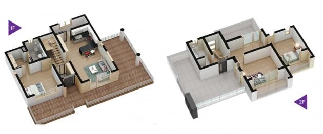 중소형 면적에 복층으로 구성된 협재 한수풀 타운하우스 실내 투시도.