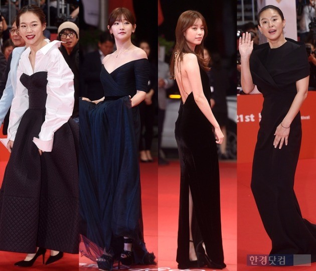 배우 한예리, 박소담, 한효주, 예지원은 블랙 드레스로 취재진의 스포트라이트를 사로잡았다.