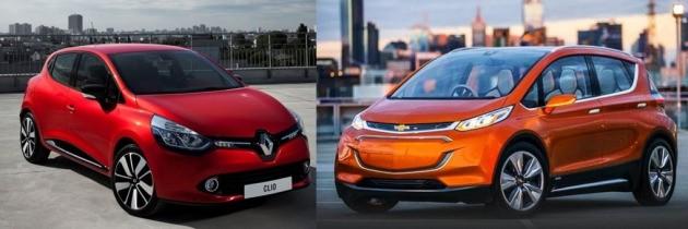 르노삼성자동차와 한국GM이 수입차로 운영할 계획인 르노 클리오(사진 왼쪽)와 쉐보레 볼트EV.