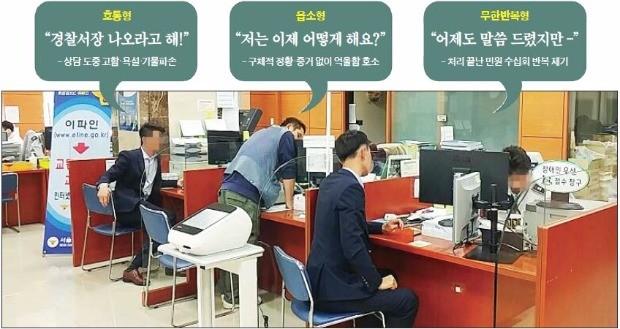 민원인들이 14일 서울의 한 경찰서 민원실을 찾아 상담하고 있다. 민원실은 고소·고발장 접수부터 정보공개청구까지 다양한 업무를 한다. 마지혜 기자 looky@hankyung.com