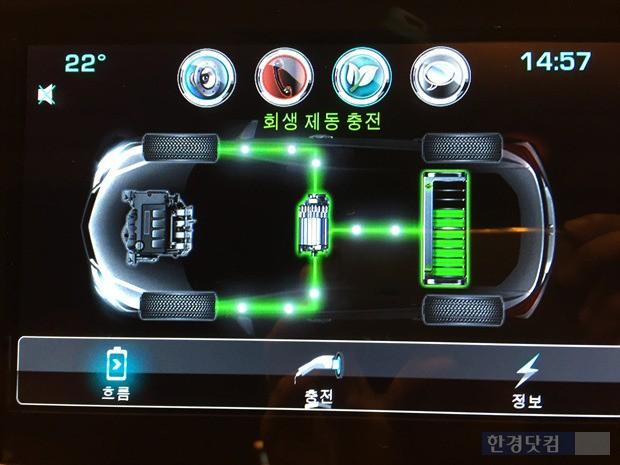 주행 중 배터리 회생제동 충전을 디스플레이를 통해 운전자에게 알려주고 있다.